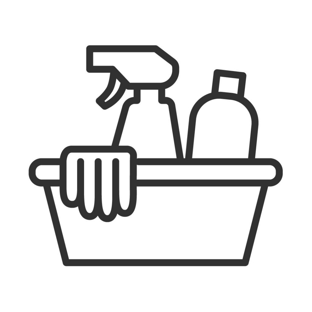 Icon image of a tub of cleaning supplies
