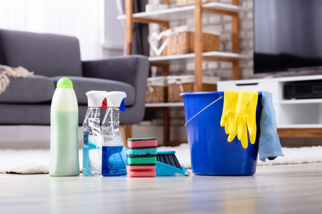 Image of different home cleaning products sitting on the floor in a row
