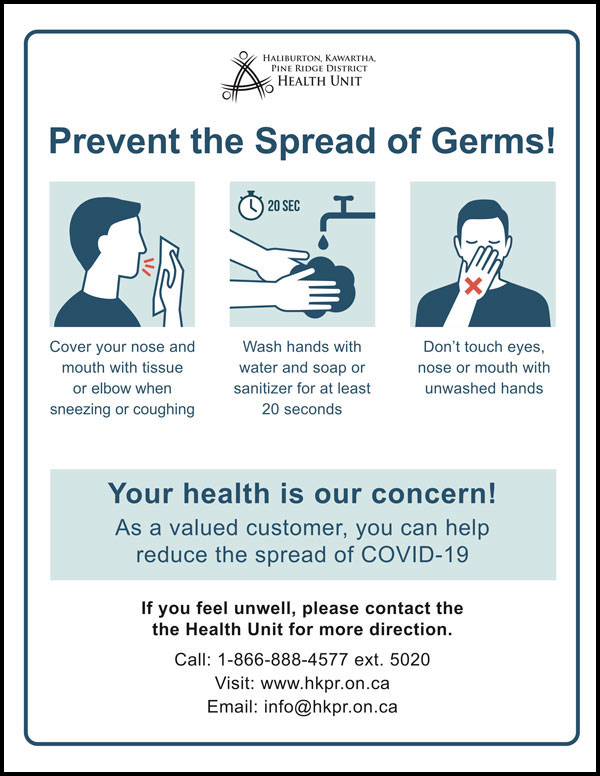 Prevention poster for customers or visitors to a workplace