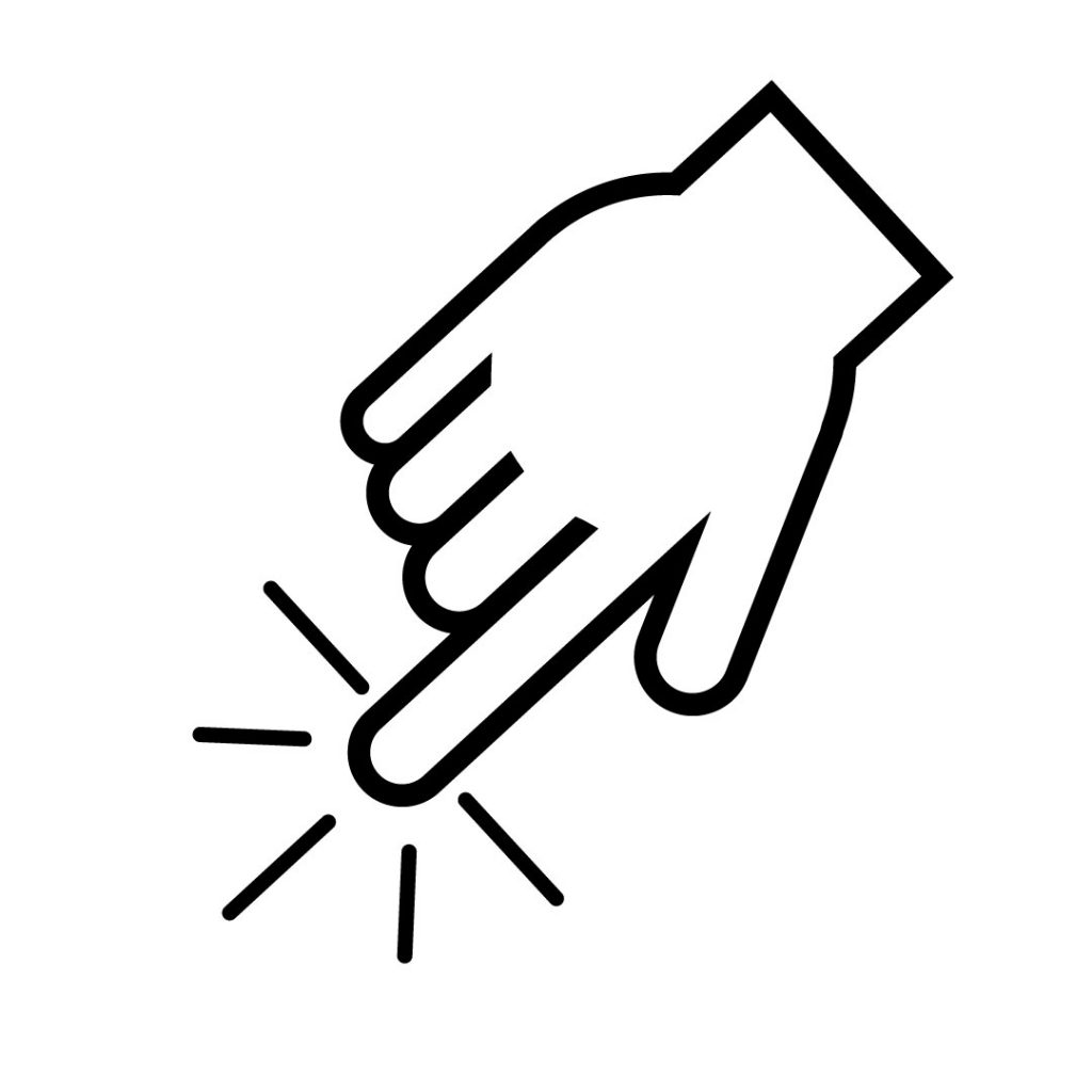 Icon image of a finger touching a surface