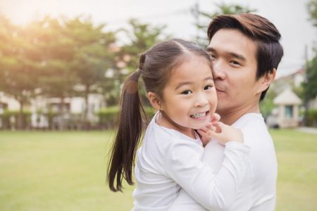 Portrait of happy asian father and daughter in the park. Happy family green spring or summer father'™s day together environment concept