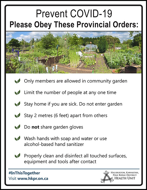 Image of AODA compliant 'Community Garden Provincial Orders' poster - click as a link