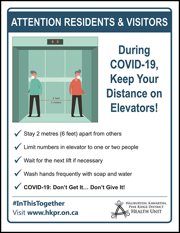 Image of AODA compliant 'Keep Your Distance on Elevators' poster - click as a link