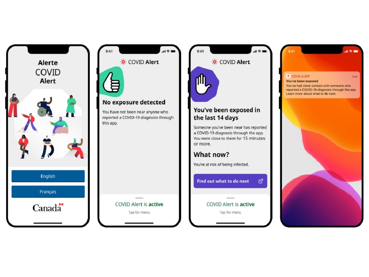 Series of cellphones showing COVID Alert app features