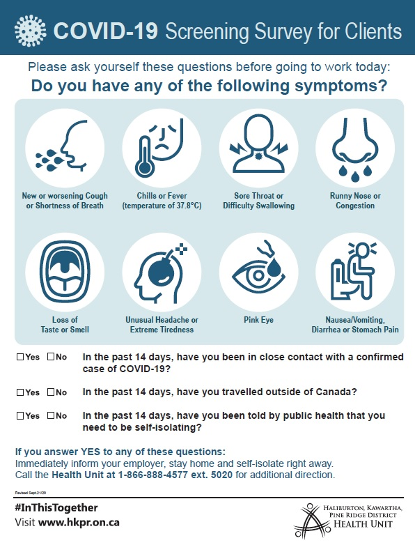 Poster showing COVID-19 screening survey questions for clients