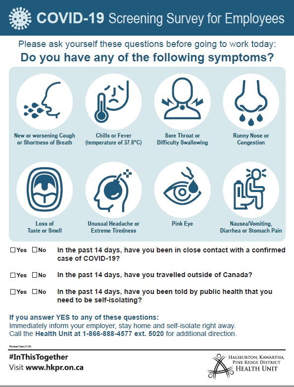 poster showing COVID-19 screening survey questions for employees