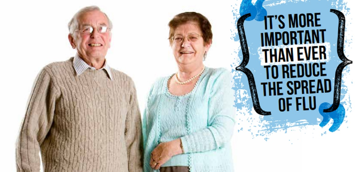photo of seniors with words 'time to get a flu shot'