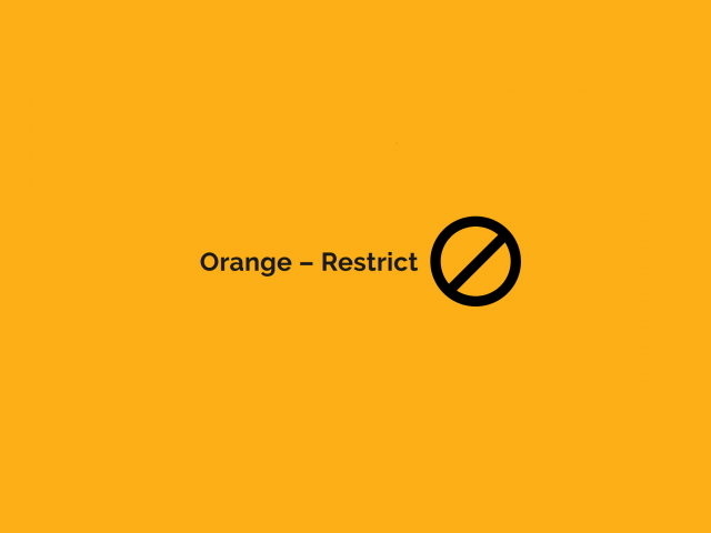 orange-coloured square denoting COVID Restrict level
