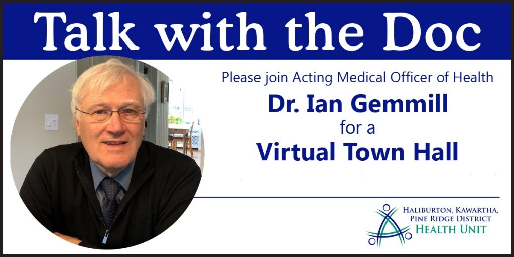 Photo of Dr. Ian Gemmill, with text 'Talk with the Doc' Virtual Town Hall