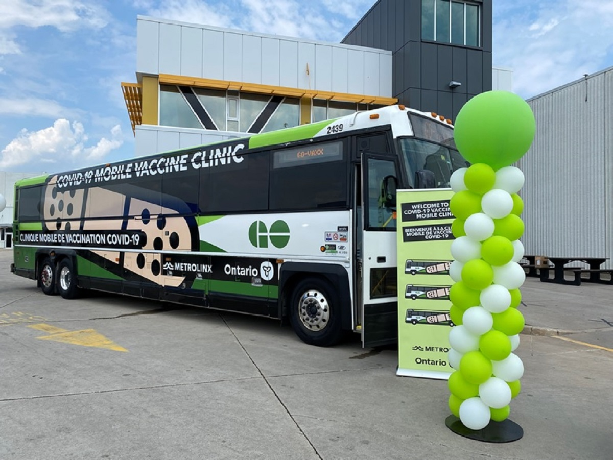 Photo of GO Transit Bus now modified as mobile COVID-19 vaccination clinic